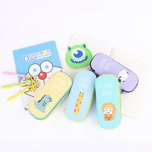 Little Cute Animals Canvas Large Capacity Pencil Box Desktop Storage Box Tin Pencil Case School Office Supply Gift Stationery