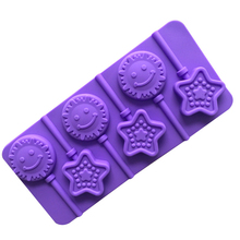 1 pcs Star and Smile Face Shape Silicone Lollipop Mold, 3D Food Grade Silicone Mold, Cake Baking Decorating Mold, Kitchware E388
