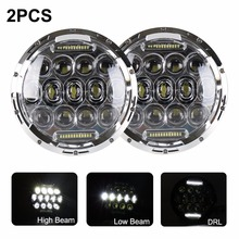 X 75w Headlamp 7 Inch Jeeps Wrangler Led Headlight DRL Jeep Jk Tj Fj Cruiser Trucks Road Lights - Auto Manufacturers store