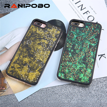 Luxury Glitter Liquid Gold Green Quicksand Design Cases for iPhone 6 6s Plus 7 7 Plus with Metel Square Triangle Back Shell(China)
