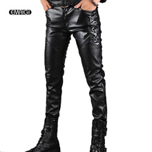 Men's Leather Pants Men Fashion Casual Pant Male Slim Fit PU Leather Locomotive Pants Punk Rock Stage Show Clothing(China)