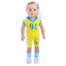 The new No. 94 Yellow Soccer Jersey (Shirt + shorts) fit for 18 inch American girl doll, Children best Birthday Gift