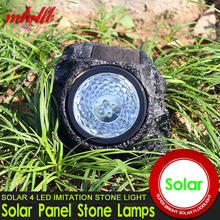 Waterproof LED Solar Panel lamps led Solar Lights Outdoor Simulated Stone Shape Home Luminarias Garden Decoration Lighting(China)