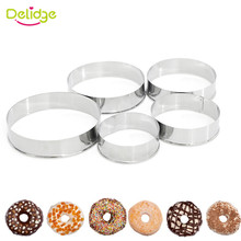 Delidge 5Pcs/set Stainless Steel Round Circle Cookie Mousse Cake Ring Cake Gum Paste Mould Layer Slicer DIY Christmas Cake Tools