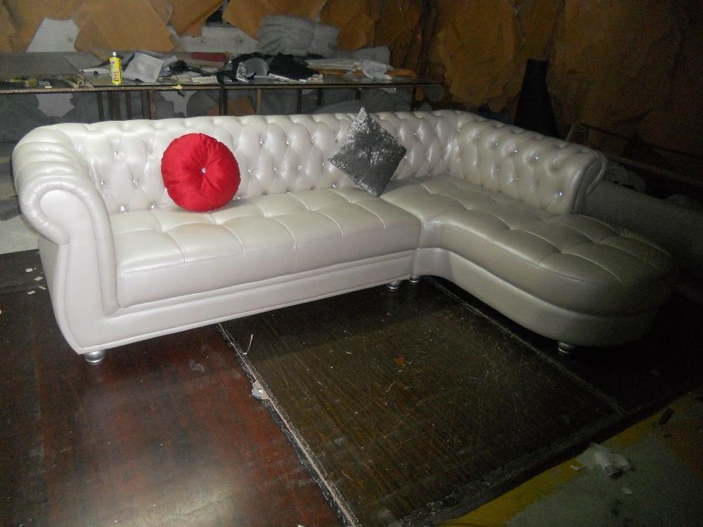 JIXINGE European Style Royal Living Room Furniture Top Genuine Leather  Chesterfield L Shape Living Room Sofa