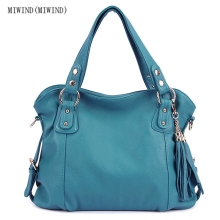 MIWIND(MIWIND)Ms. PU handbag European and American wind big tassel pure color soft female shoulder bag