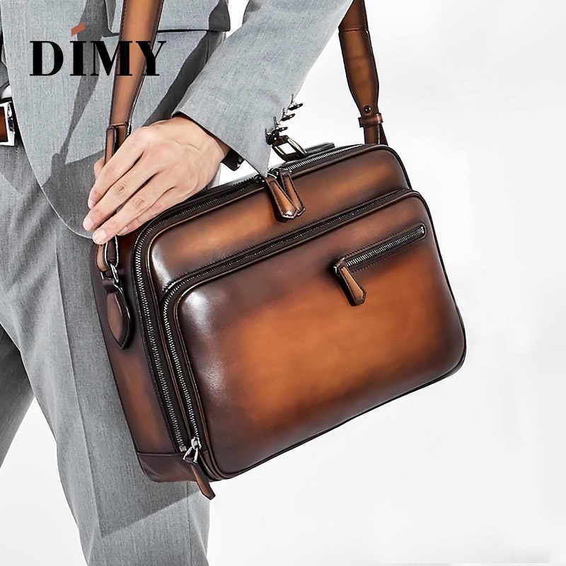 86af8ebcab34 DIMY итальянская коровья кожа сумка-мессенджер Мужская телячья сумка на  плечо деловая Мужская s портфель