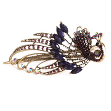 High Quality Beauty Women'S Retro Style Peacock Hairpin Rhinestone Hair Clip Shipping Free  Alloy Hair Accessary