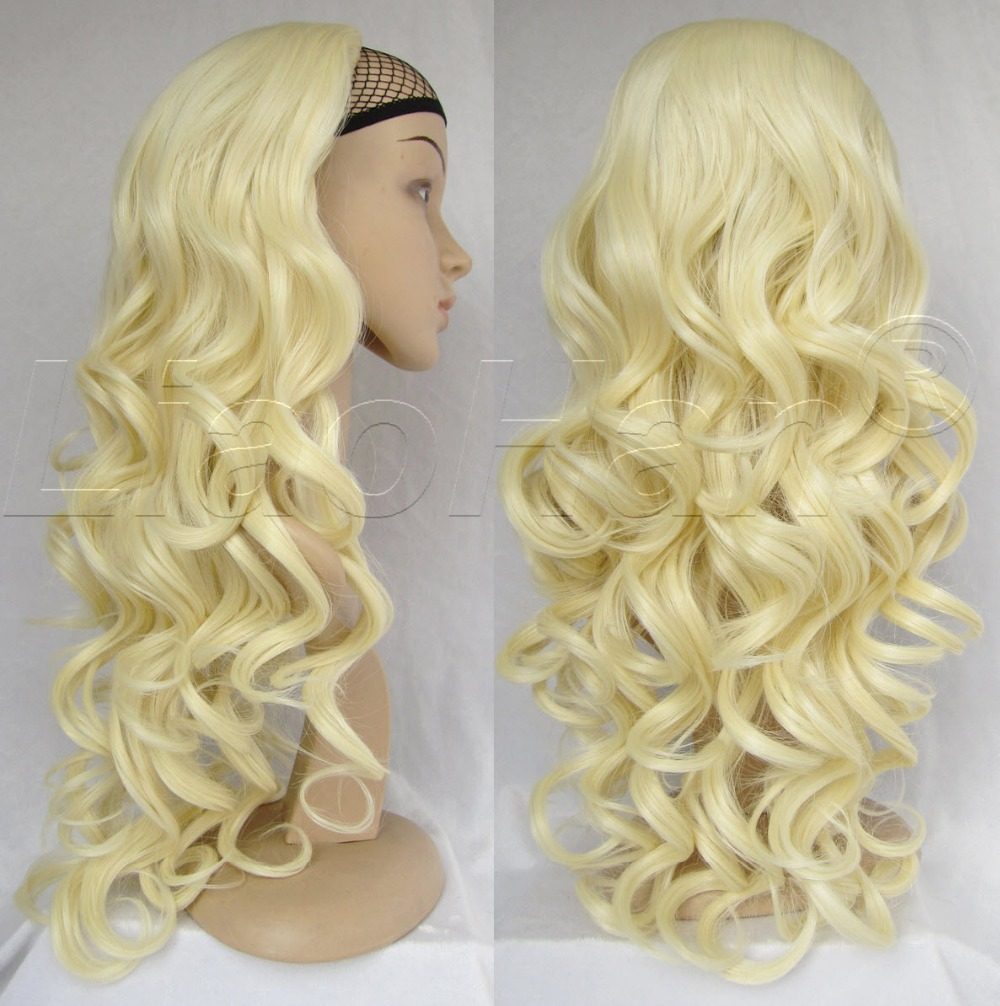 Fashion 3/4 Half Wig Hair 24 Long Curly Blonde Hair Fall Synthetic Blonde Wig for Women #613<br><br>Aliexpress