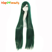 MapofBeauty 100cm 40 inch Dark green Long straight Cosplay wig costume party women synthetic hair Heat Resistant peruca(China)