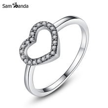 New Collection Authentic 925 Sterling Silver Heart Be My Valentine Wedding Ring Clear CZ Original Birthday Gift Fine Jewelry