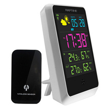 Home Wireless Weather Station Colorful LCD Digital In/Outdoor Temperature Humidity Snooze Weather Forecast Meter Alarm Clock(China)