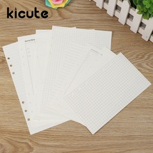Kicute 40 Sheets A6 A5 Core Loose Leaf Diary Refills Spiral Notebook Replace Color Stationery Planner 6 Rings Binder Paper