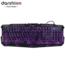 Russian keyboard Backlight LED Pro Gaming Keyboard switching computer peripherals Three-color crack breathing light USB Wired