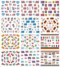 Large(1Lot=12Pcs Design)1677-1688 Pro Nail Art Water Transfer Stickers Country Flag Decor Tattoos DIY Tips Nail Tools Wrap Decal