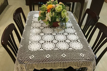 Hand Crochet Cotton Table cloth White 120X140CM Tablecloths hollow pastoral Coffee Doilies Home Cover cloth(China)