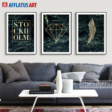 AFFLATUS Letters Masonry Feather Galactic Background Decorative Fashion Painting For Living Room Bedroom Modern Chic Home Decor