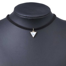 Brand New Punk Necklace Short Women Black Velvet Choker Necklace With Imitation Triangle Stone India Christmas Gift  N120-N121