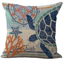 45*45 Cm Square Deep Seabed Organisms Linen Pillow Case Home Bedside Office Seat Waist Pillowcase