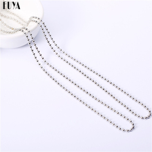 2 Pcs/Lot High Quality Silver Ball Bead Necklace 2mm*60cm Alloy Round Beads Long Chain Necklaces For Men Women Fashion Jewelry
