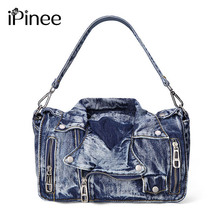 iPinee Designer Denim Handbags Casual Women Messenger Bags Jean Bags Womens Purses Hobo Travel Tote Cross Body Bag(China)