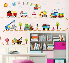 Cartoon cars child room wall stickers for kids room boy bedroom wall decals window poster 3D car wall sticker wallpaper(China)
