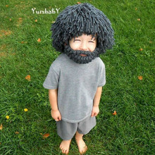 Kids Knitted Hats Viking Wicing Hats for Winter Baby Wig Hats with Beard Boys Cool Personality Caps Wool Pirates Cosmetic Hats(China)