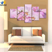 Free shipping Purple red  Painting Flower Modern Abstract 5 Panel Canvas Art Wall Picture For bedroom Home decor Unframed A23