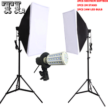 Photographic Equipment Photo Studio Soft Box Kit Video lamp Holder Lighting+50*70cm Softbox+2m light stand photo box+24wled lamp