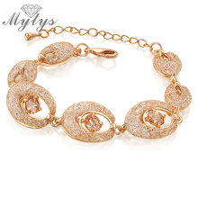 Mytys Gold mesh net Cubic Zirconia Gem Bangle Crystal Bracelet Rose GP B834(China)