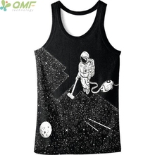 Harajuku Astronaut Cleaning Moon 3d Print Male Vest Gyms Fitness Tank Tops Sleeveless Novelty Men Running Vest Black Quick Dry(China)
