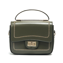SKLEAF lady bag 2017 new rivets small flap bag fashion women handbag spring summer lock catch shoulder bag leather messenger bag
