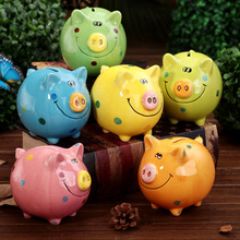 Ceramic Pig Piggy Bank Lucky Pig Vintage Money Box Ceramic Coin Bank Money Save Home Decoration Kid Toy Gift cofre cachorro(China)