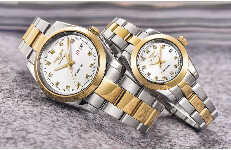 GUANQIN Gold Couple Watch Men Women Mechanical Watch Luminous Calendar Week Waterproof Rhinestones Automatic Lovers Watches (12)