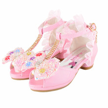 2017 new summer girls kids sandals children's high heel fish mouth children shoes lace dance princess shoes crystal shoes TX024