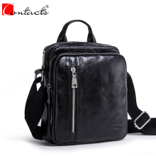 CONTACT'S Genuine Leather Men Bags Fashion Men's Messenger Bag Ipad Pocket Flap Shoulder Crossbody Bags Male Traval Bag Handbags(China)