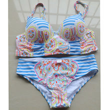 Women PUSH UP Bikinis Set Retro Stripes Sexy Slim Two-Piece Swimsuit Straps Crop Halter Swimwear Triangle Bathing Suit Full Cup