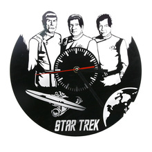 Free Shipping 1Piece Star Trek Laser Engraved Clock Wall Art Home Decor Star Trek Enterprise Wall Clock Vintage Classic Clock
