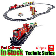LEPIN 02039 Technic 898pcs City Red Cargo Train Compatible 3677 Building Brick Blocks RC Model Educational Toys  Gifts