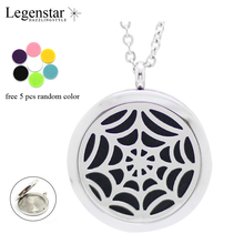 Legenstar 2017 New Arrival 316 Stainless Steel Perfume Locket Jewelry Spider web Perfume Necklace with Oil Pads as Gift