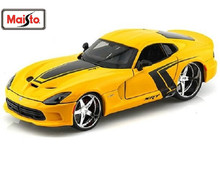 Maisto 1:24 Dodge 2013 SRT Viper GTS Yellow Diecast Model Car Toy New In Box Free Shipping