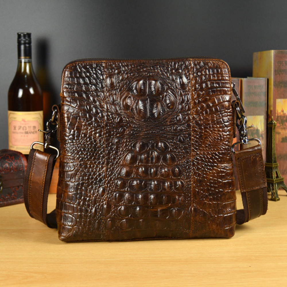 2018 New Men Genuine Leather Crocodile Grain Patterns Vintage Cross Body Messenger Shoulder Business Casual Bag<br>