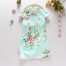 2017 autumn kids chinese cheongsam girls christmas dress cotton padded clothes stand collar bow year tang costume