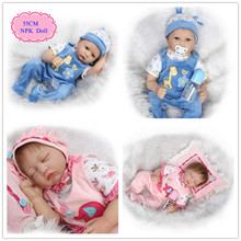 Original China 55cm 22'' Baby Doll Toys For Girls Hot Welcome Reborn Baby Girl Doll Unique Reborn Benecas De Silicone Best Gift(China)