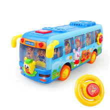 Lovely Children Happy School Bus Shaking Diecast Model Kids Educational Battery Operated Toys Free Shipping 908 Baby Toys(China)