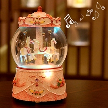 The carousel lantern crystal ball music box to send his girlfriend a birthday gift for Valentine's day my wife(China)
