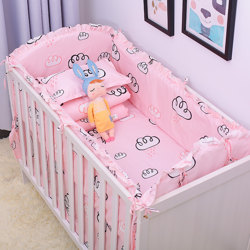 Cotton Newborn Crib Bedding Set for Girl Boy Anti-collision Baby Bedding Bumpers Set Baby Bed Linens Includes Cot Bumpers Sheet