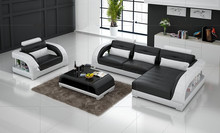 leather corner sofas with genuine leather sectional sofa Black(China)