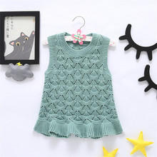 MBBGJOY 1-5T Baby Girls Dress Knitted Cotton Hollow Vest Dresses Kids Children Clothes Fashion Wavy Hem Princess Party Clothes