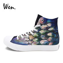 Wen Original Design Boa Snake Graffiti Shoes Men Women's Hand Painted Canvas Skateboarding Shoes Sports Sneakers High Top(China)
